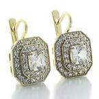 Dazzling Ladies 14K Yellow Gold Princess Cut Cubic Zirconia Dangling Earrings