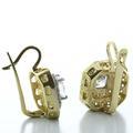Dazzling Ladies 14K Yellow Gold Princess Cut Cubic Zirconia Dangling Earrings