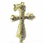 Dazzling Ladies Vintage 14K Yellow Gold Round Diamond Cross Pendant Jewelry