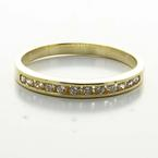Dazzling Ladies 14K Yellow Gold ROund Cubic Zirconia Half Eternity Band Ring