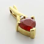 Beautiful Ladies Vintage 10K Yellow Gold Ruby Heart Diamond Pendant