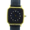 Authentic Vintage Cartier 18K Yellow Gold Circa 1978 Diamond Watch Blue Face