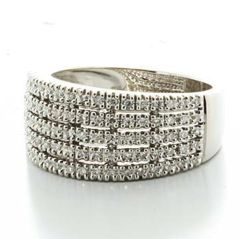 Maginificent Ladies 14K White Gold Round Diamond Five Row Wedding Band Ring