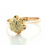 Beautiful Ladies Vintage 14K Rose Gold Round Diamond Flower Russian Ring