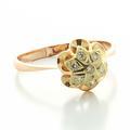 Beautiful Ladies Vintage 14K Rose Gold Round Diamond Flower Russian Ring