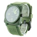 Bell & Ross BR03942 Aviation Military Cermaic Green  Men's Watch Rubber Band