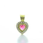 Beautiful Ladies 18K Yellow Gold Pink Tourmaline Heart Diamond Heart Pendant