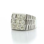 Spectacular Men's Vintage 14K White Gold Round Diamond Cluster Ring Jewelry