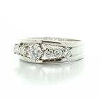 Dazzling Vintage Russian 14K 583 Ladies Round Diamond Ring Wedding Band