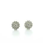 Beautiful Ladies 14K White Gold Round Diamond Cluster Earrings 10MM Circle