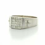 Dazzling Men's 18K White Gold Princess Diamond Pinkie Ring Band