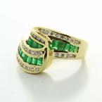 Dazzling Ladies Vintage 14K Yellow Gold Diamond Emerald Wave Right Hand Ring