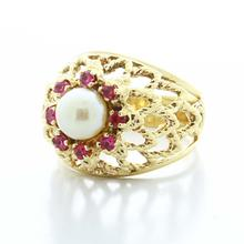 Stunning Ladies Vintage 14K Yellow Gold Pearl Pink Topaz  Basket Interlace Ring