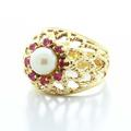 Stunning Ladies Vintage 14K Yellow Gold Pearl Pink Topaz  Basket Interlace Ring
