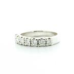 Beautiful Ladies 18K White Gold Round Seven Diamond Wedding Band Ring