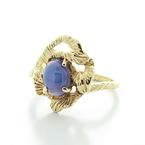 Dazzling Vintage Ladies 14K Yellow Gold Blue Star Sapphire Gemstone Ring