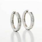 Gorgeous Ladies 14K White Gold Round Diamond Huggie Hoop Earring Pair