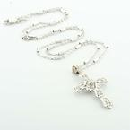 Dazzling Ladies 14K White Gold Round Diamond Religous Cross Pendant Necklace