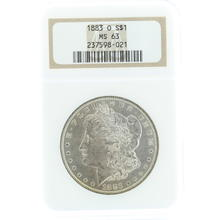 Spectacular 1883 Morgan Silver Dollar Coin NGC Certified Grade Mint State 63