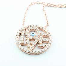LadiesSterling Silver 925 Rose Gold Plated Circle of Life Love Evil Eye Pendant