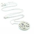 Stunning Sterling Silver 925 Circle of Life  Love Evil Eye Pendant Necklace