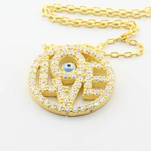 Sterling Silver 925 Yellow Gold Plated Circle of Life Love Evil Eye Pendant