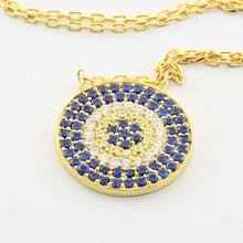 Dazzling Ladies Sterling Silver 925 Yellow Gold Plated Circle Pendant Necklace