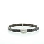Stunning Charriol Ladies Celtic Noir 18K White Gold Diamond Bangle Bracelet