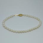 "Classic Ladies Estate 10K Yellow Gold White Pearl Strand 7"" Bracelet"