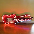 Authentic Collectible Aria Budweiser Red Guitar Neon Sign