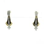 Dazzling Vintage Ladies 14K Yellow Gold Round DIamond Enamal Dangling Earrings