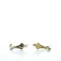 Dazzling Vintage Ladies 14K Yellow Gold Round DIamond Enamal Dangling Earrings
