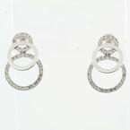 Magnificent Ladies 18K White Gold Circle Of Life Cubic Zirconia Earring Set.