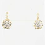 Magnificent Ladies Vintage Russian 14K Yellow Gold Round Cubic Zirconia Earrings