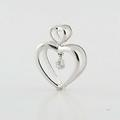 Magnificent Ladies 14K White Gold Round Diamond Double Heart Peandant Jewelry