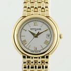 Wittnauer Ladies Stainless Steel Gold Plated White Face Roman Numeral Watch