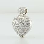 Magnificent Ladies 14K White Gold Round Diamond Pave Heart Pendant  Jewelry