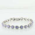 Spectacular Ladies 14K White Gold Synthetic Tanzanite Diamond Cluster Bracelet