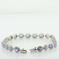 Spectacular Ladies 14K White Gold Synthetic Tanzanite Diamond Cluster Bracelet