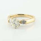 Dazzling Ladies 14K Yellow Gold Round Three Diamond Engagement Ring