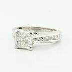 Dazzling Ladies10K White Gold Princess Round Diamond  Engagement Ring