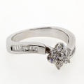 14K White Gold Diamond Flower Cluster Ring