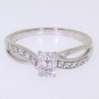 Spectacular Ladies 10K White Gold Round Diamond Engagement Ring