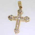 Modern Estate 14K Yellow Gold Diamond 0.40CTW Cross Pendant