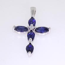 Stunning 14K White Gold Synthetic Sapphire Cross Jewelry