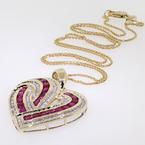 Fine Vintage Estate 14K Yellow Gold Diamond Spinel 2.00CTW Heart Pendant
