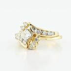 Dazzling Ladies Vintage 14K Yellow Gold Princess Diamond Engagement Ring Set