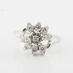 Beautiful Vintage Ladies 14K White Gold Round Diamond Flower Cocktail Ring