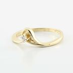 Unique Vintage Ladies 14K Yellow Gold Round Diamond Engagement Promise Ring