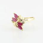 Dazzlign Vintage Ladies 14K Yellow Gold Ruby Diamond Cocktail Ring